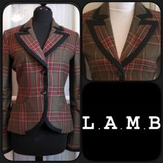 """💗SALE💗🆕L.A.M.B Tartan Blazer by Gwen Stefani 🐏 Great tartan blazer by L.A.M.B. Great details with buttons and distressed trim on the back. 100% wool. Size P same as Small. Love this blazer, never worn a little too small for me. Great with jeans, skirts and shorts. Beautifully designed as only Gwen Stefani can do. Measures approximately 22""""L, sleeves 23.5"""" long, 16"""" across bust lying flat and buttoned. Fully lined. L.A.M.B. Jackets & Coats Blazers"""