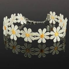 White Yellow Daisy Flower Chain Tattoo Choker Necklace For Women - US$1.35