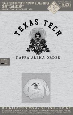 Texas Tech Kappa Alpha Order Crest Sweatshirt | Fraternity Event | Greek Event #kappaalphaorder #kappaalpha #theorder #ka Kappa Alpha Order, Texas Tech University, Fraternity, Sorority, All Design, Greek, Sweatshirts, Trainers, Sweatshirt