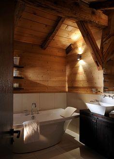 Bathroom At The Ski Chalet Ferme de Moudon   interior designer Nicky Dobree