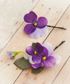 Purple flower hair clips floral bobby pins by gardensofwhimsy, $15.00