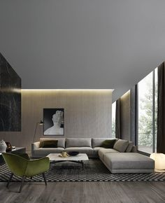 The contemporary design is all about simplicity, functionality, and elegance. Here are some stunning contemporary living room design ideas. Living Room Interior, Home Living Room, Living Room Furniture, Living Room Designs, Living Room Decor, Apartment Living, Men Apartment, Living Area, Home Furniture