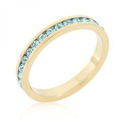Stylish Stackables Aqua Crystal Gold Ring