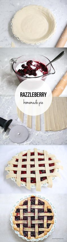 Homemade Razzleberry Pie – one of my all time favorite pies! Filled with 3 different types of berries and topped with a lattice crust.
