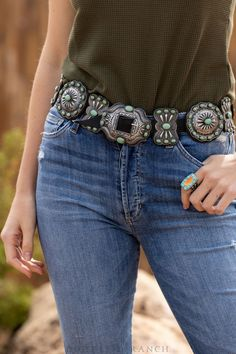 Harry Morgan, Patina Style, Belt Display, Concho Belt, Cowgirl Style, Everyday Fashion, Retro Fashion, Thrifting, Turquoise