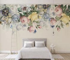 Murwall Lotus Floral Wall Decal Watercolor Water Lily Flower Wall Sticker White Lotus Removable Peel n Stick Chinese Home Decor Asian Cafe Design