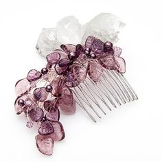 Purple Bridal Hair Comb Leaves and Pearl by CherylParrottJewelry, $73.95