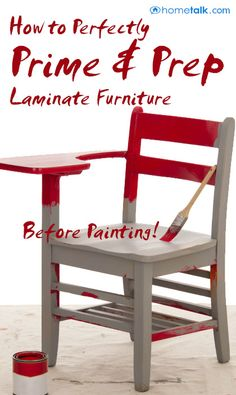 How to Perfectly {Prime & Prep} Laminate Furniture Before Painting!