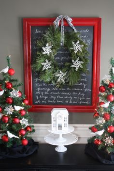 The Yellow Cape Cod: Holiday Home Series: Christmas Menu Board Tutorial - so cute - just paint an old mirror - you can write christmas song lyrics on it too:) Fun:)