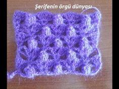 Tığ İşi Popcorn Çiçekler Örgü Modeli Crochet Coat, Emo, Make It Yourself, Stitch, Blanket, Knitting, Purple, Youtube, Aurora