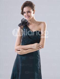 Dark Blue Taffeta One Shoulder Floor Length Bridesmaid Dress - Milanoo.com