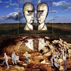 Pink Floyd - Division Bell | The air is extended with two photographs of similar clouds, the cave is made out of two different caves. The statue parts below are mainly from parts above, some machine-like technical details are added. Most of the miners are from a series around 1920. Could have done a better job on the colouring and shades, but soit...