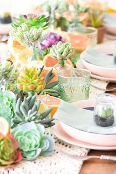Kara's Party Ideas Mother's Day Boho Citrus Tablescape | Kara's Party Ideas