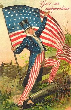 Very patriotic vintage postcard. uncle sam leading a charge independence day 1908 vf by jerryburton on etsy My Funny Valentine, Happy Fourth Of July, July 4th, 4 Juni, Doodle, Patriotic Images, Patriotic Posters, Decoupage, I Love America