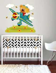 kcik268 Full Color Wall decal Teddy Bear airplane aircraft flying clouds cot children's bedroom