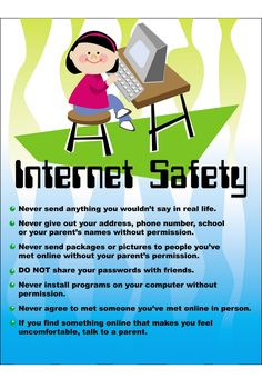 online safety tips Internet Safety For Kids, Safe Internet, Technology Posters, Teaching Technology, Cyber Safety, Safety Posters, Digital Literacy, Personal Safety, Health And Safety