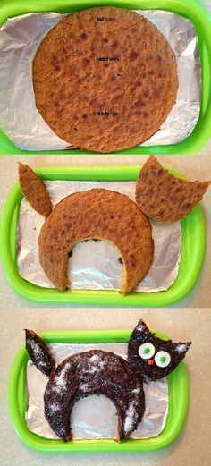 how to make a cat cake The post appeared first on Kuchen Rezepte how to make a cat cake The postappeared first on Kuchen Rezepte Creative Cakes, Creative Food, Birthday Cake For Cat, Birthday Kitty, Funny Birthday Cakes, Birthday Ideas, Halloween Cakes, Halloween Desserts, Halloween Halloween