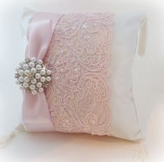 Pink and Ivory Ring Pillow with Vintage Inspired Pearl and Crystal Brooch - Wedding Ring Bearer Pillow