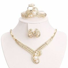 BiLiBiLi 18K Gold Plated Simulated Pearl Occasional Jewelry Set Statement Necklace Earrings Bracelet Ring ** You can get more details by clicking on the image.
