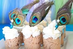 A Peacock Princess Party...luscious chocolate mousse embellished with elegant plumage!