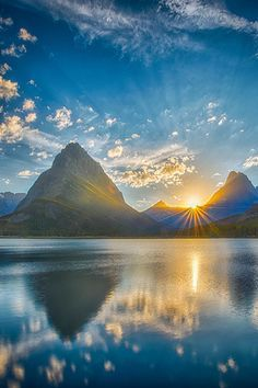 Sunset over Swiftcurrent Lake looking at Mt. Grinneli, Glacier National Park, Montana