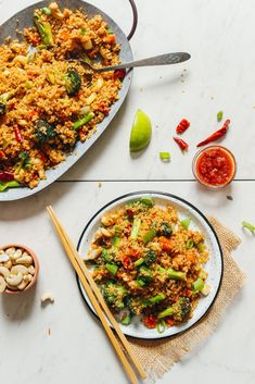 "Delicious, hearty quinoa ""fried rice"" stir-fry with broccoli, carrot, and a sweet-and-spicy sauce! Ready in 30 minutes, big flavor, and incredibly satisfying!"