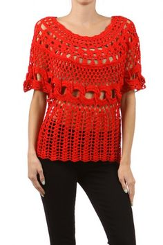 100 percent Acrylic 1S/1M/1L/1XL Per Pack Red (shown), Black, White, Teal This HIGH QUALITY top is VERY CUTE! Made from a soft and comfy fabric, this solid crochet top with a round neckline is hand washable, and fits true to size.
