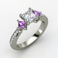 Princess Diamond White Gold Ring with Amethyst & Diamond... This is exactly what I want