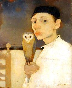 Jan Mankes - Self portrait with Barn Owl  Oil on canvas  1911