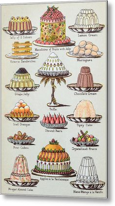 Engraving Metal Print featuring the drawing Antique Recipes Book Engraving Illustration: Desserts by Ilbusca Victorian Illustration, Cake Illustration, Engraving Illustration, Food Illustrations, Retro Recipes, Vintage Recipes, Victorian Recipes, Jelly Cream, Great British Bake Off
