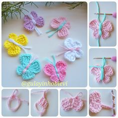 do magic ring pull chain and make 2 3 handrails 3 . - We make magic ring, we pull chains, we make 2 3 handrails, we pull 3 chains and fix them wit - Crochet Butterfly Pattern, Crochet Applique Patterns Free, Crochet Motif, Crochet Flowers, Crochet Baby, Knitting Patterns, Knit Crochet, Beginner Crochet Projects, Crochet For Beginners