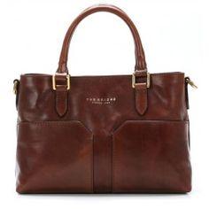Handtasche glattes Leder braun