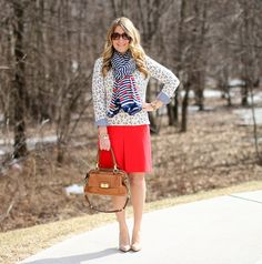 What I Wore to Work Weekly Linkup: A Stella & Dot elephant print scarf is paired with an anchor sweater for a nautical work look. What I Wore, What To Wear, Anchor Sweater, Sweet Style, My Style, Mix And Match Fashion, Elephant Print, Red Skirts, Navy Sweaters
