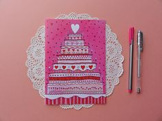 Wedding Cake Greeting Card. Love watercolor by BeijosdeAlgodao