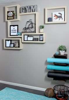 DIY plywood shelves with exposed edge in home gym.