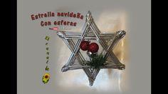 Estrella navideña con esferas reciclaje de papel periódico- Christmas st...