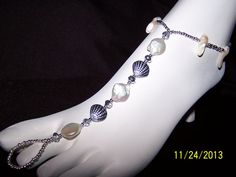 Silver Pearl and Seashell Barefoot Anklet by GreenBridalBoutique, $35.00