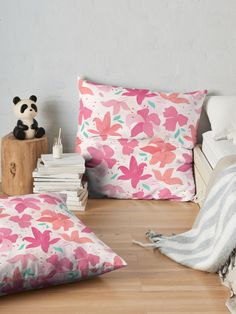 Carly Watts Redbubble: Sugar Lily Floor Pillow #redbubble #shopping #throwpillow #pillow #floral #lily #flowers