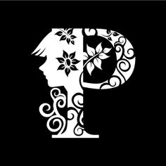 Graphic Design of Flower Clipart - White Alphabet P with Black Background
