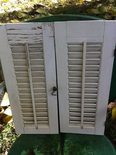 PR.DISTRESSED  WHITE Wooden  Louvered by DOUBLEDOORANTIQUES, $24.99