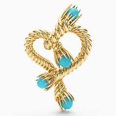 Tiffany & Co. Schlumberger® Heart clip in 18k gold with turquoise.