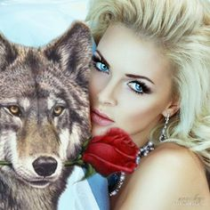 Native American Wolf, Wolves And Women, Wolf Love, Diamond Art, Gifs, Beauty And The Beast, Husky, Fantasy, Beautiful