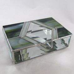 Earthy Green and Diamond Bevel Stained Glass Box by JiSTglass, $52.00