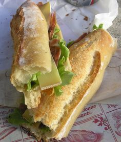 Baguette with ham, lettuce, cheese, tomatoes,  cucumbers, and dijon mayo we had at Uni in Cheltenham,  England.  Divine!