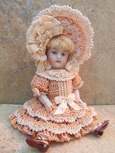 Original crocheted victorian style doll dress and bonnet by Tina...Luv2crochet4u on eBay