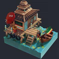 house 2 by Olga Orlova on ArtStation. Game Environment, Environment Concept Art, Environment Design, Game Design, Prop Design, Design Concepts, Isometric Art, Isometric Design, Game Art