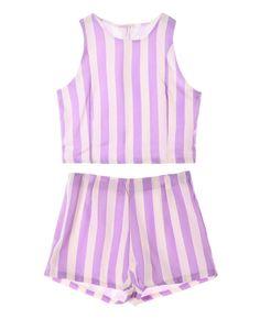 Concise Striped Zipped Chiffon Tank & Shorts