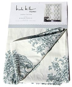 Amazon.com: Nicole Miller Marchesa Paisley Medallion Pair of Curtains in Grey Greenish Gray Ivory Colors Medallion Print China Paisley 52-by-96-inch 100% Cotton Set of 2 Window Panels Drapes: Kitchen & Dining
