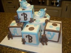 Blue & Brown, Blocks & Bears, baby shower cake