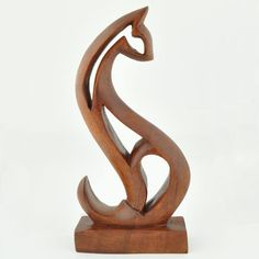 abstract wood carving   Wooden Abstract Cat Sculpture
